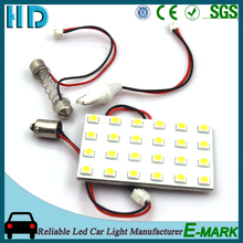 White 5050 24SMD led panel dome light lamp auto car reading interior lamp DC 12V with T10 BA9S festoon adapters