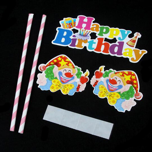 Happy Birthday clown cake bunting banner topper baby shower party decoration