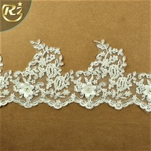 LB-476 New Arrival Embroidered Delicate Woman Wedding Dress Guipure Wholesale Beaded White Lace Trim