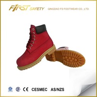 FS2201 Red Nubuck leather high quality rubber outsole casual shoes