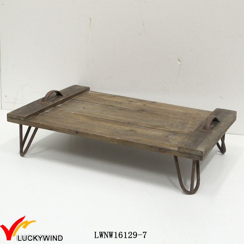 Upcycle Wood Decorative Large Serving Tray with Metal Handles