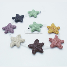 Wholesale Star Fish Shaped Colorful Lava Stone Beads for Essential Oil Aromatherapy Pendant