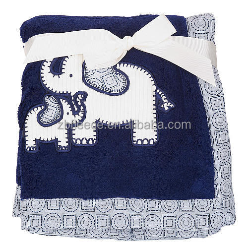 Navy Blue Double Ply Coral Fleece Fabric Selimut Jumbo Elephant Applique Bayi Blanket