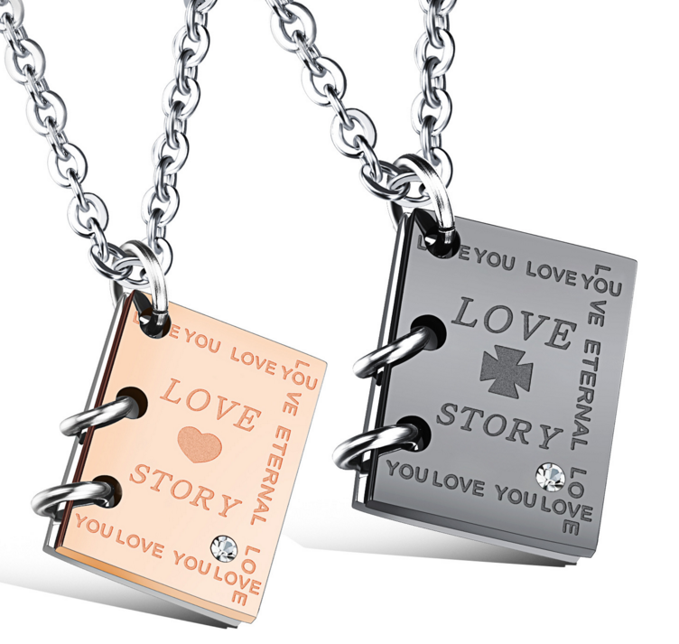 Wholesale jewelry creative love story book lovers titanium necklace