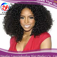 wholesale cheap malaysian mongolian afro kinky curly virgin human hair full lace wig for black women