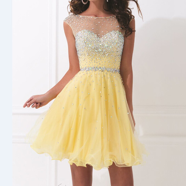 wholesale one-piece-girls-party-dresses sexy yellow beaded bridesmaids dresses 2014