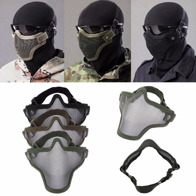Half Lower Face Metal Steel Net Mesh Hunting Tactical Protective Airsoft Mask Gofuly