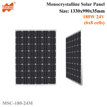 180W 24V 48cells High Quality Monoycrystalline Tempered Glass Solar Panel with Size 1330x990x35mm