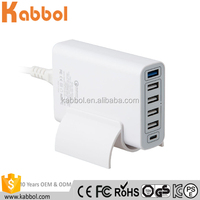 wall type-c charger 6 usb charger power bank 60w for Samsung Galaxy, HTC Nexus Moto Blackberry