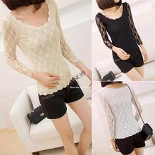 2014 New Fashion Women's Blouses Tops Lace Shirts Blouse For Women Long Sleeve Wavy Bottoming T-Shirt SV000580