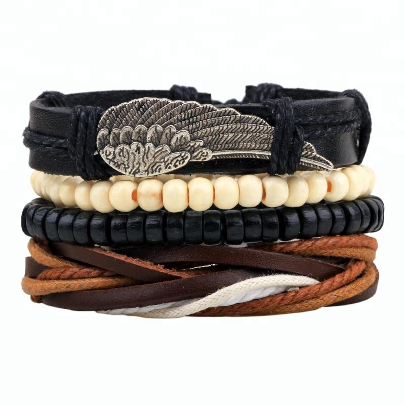 DIY Multilayer wing Bracelet Alloy Feather Leather Bracelets & Bangles Wooden Beads For Men Women fashion <strong>accessories</strong>