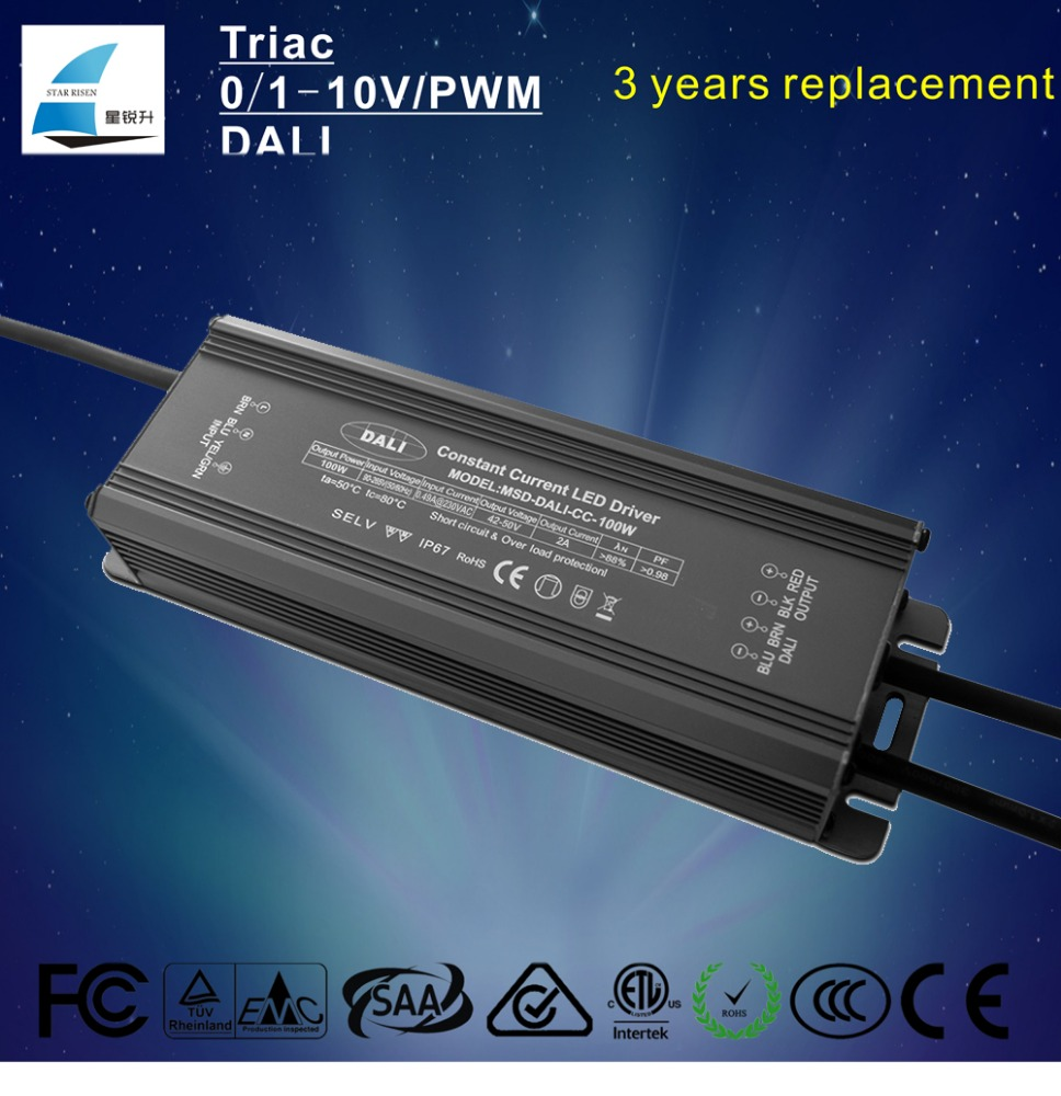 Five years warranty dali dimming led driver 100w constant current 2000ma 2500ma 3000ma switch power supply
