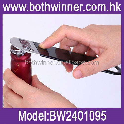 Metal bar blade bottle opener ,H0T103 stainless steel bottle opener with pvc coated for sale