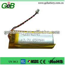 GEB rechargeable 3.7V 650mAh 742045 lipo battery for electricity sound box