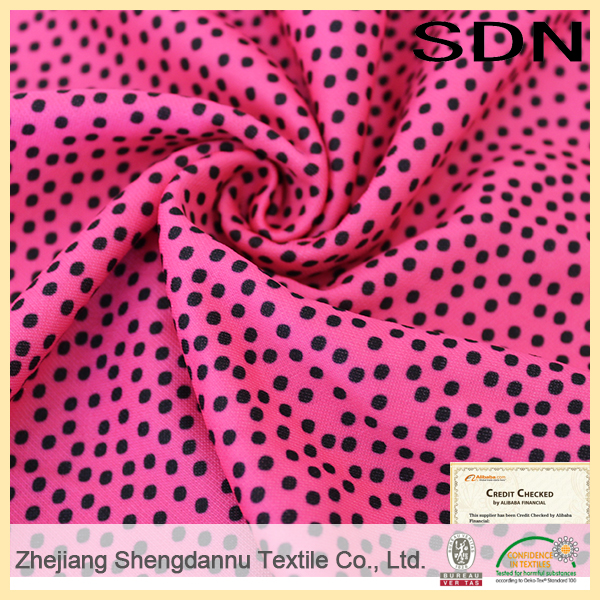 2015 Good Quality 100D/96F+75D/72F DTY dots printed fabric