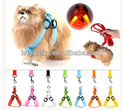 LED Flashing Light Pet Harness Dog Belt Leash Safty Collar