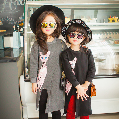 2016 Autumn Girls Cotton Long-Sleeve dress Cat Cartoon Dress Gray Black Fleece Slit kids frock designs