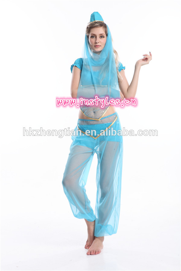 Trade assurance $ instyles Ladies Princess Jasmine Belly Dancer Aladdin Arabian Sexy Fancy Dress Costume