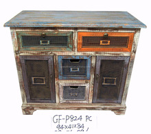 Rustic Distressed Wooden Cabinet With Drawers
