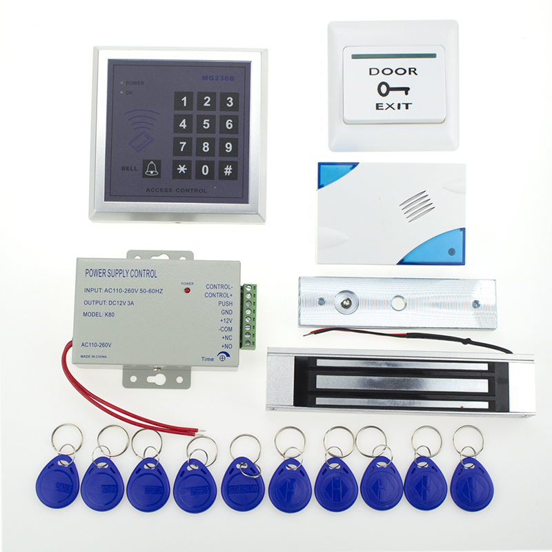 Hot sale full set of RFID 13.56khz door access control system+power supply+magnetic lock+door exit button+door bell+key fobs