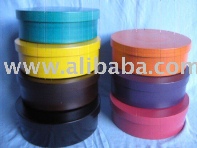 Coloured spun-bamboo boxes