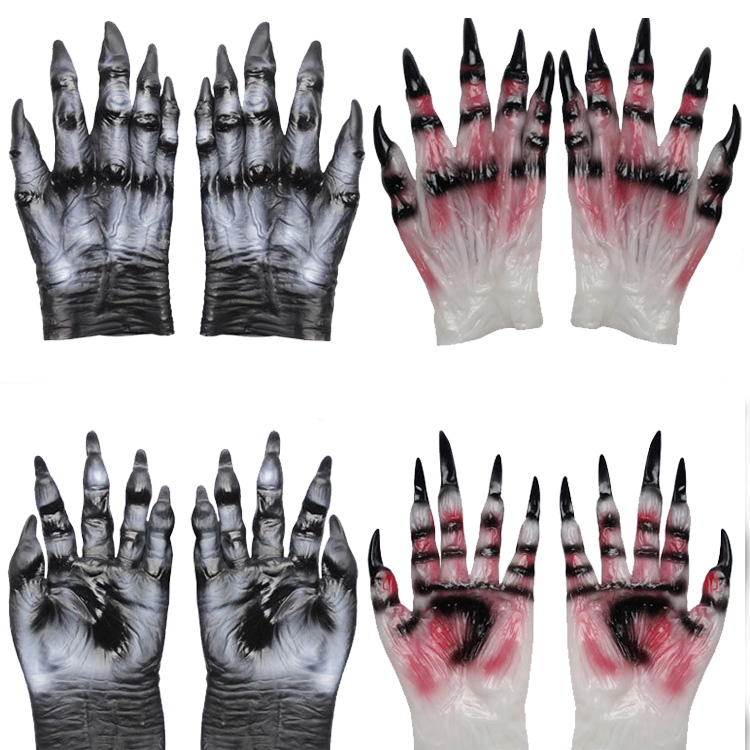 Adult Halloween Costume Acessory Unisex Monster Demon Horror Hand Latex Gloves for Halloween Costume