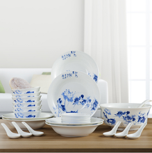26 pcs High quality ceramic Blue and white flower Bone China tableware set