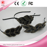 Beads Leaf Structure Handmade Bow Metal Hair Bands Girl Headband