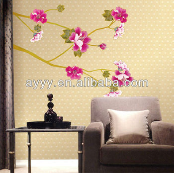 Ay723 pink flower branch wall sticker adesivo parede for Appliqu mural autocollant