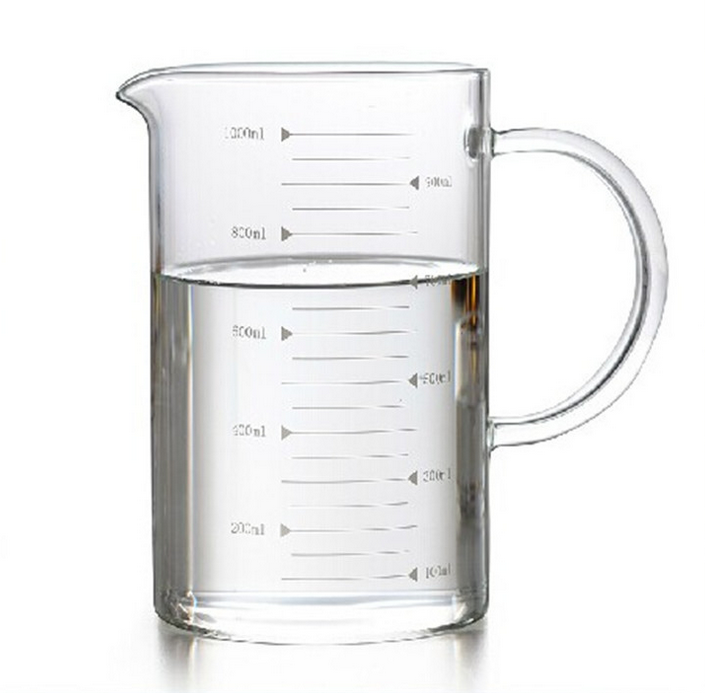 wholesale single wall measuring drinking glass cup with handle