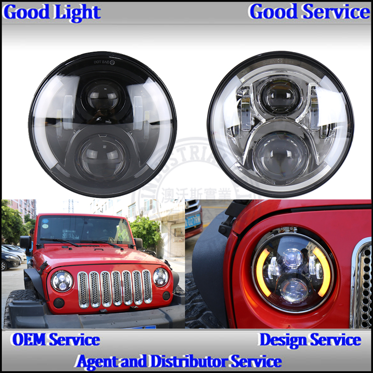 Round 7'' 40w led headlight with Halo ring for J-eep wrangler JK &Har-lry davidson motorcycle