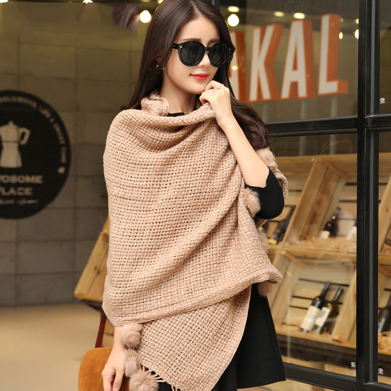 2016 winter plain colors wool scarf fashionable women acrylic pashmina scarf shawl wraps with fur balls