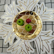 Attractive price unique pineapple shape printed gold paper <strong>plate</strong> disposable
