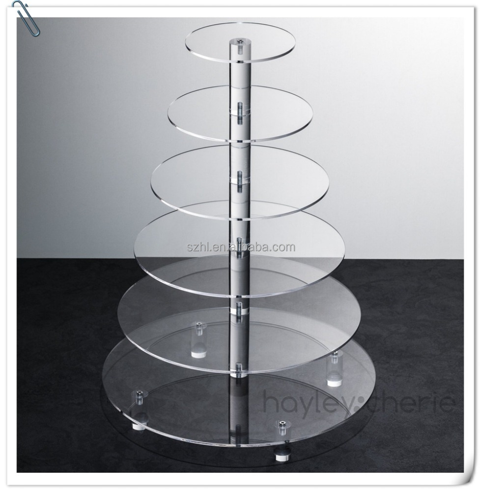 custom made cheap round acrylic cake stand china hot sale 6 tiers acrylic cup cakes stand acrylic wedding cake shelf stand MOQ