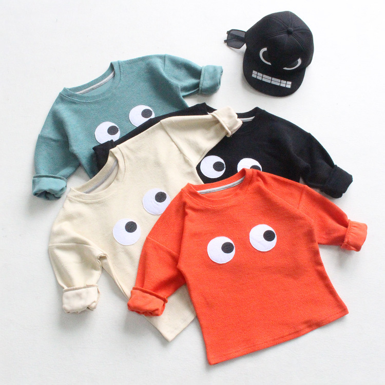 new 2016 Europe Hot Autumn children cotton long-sleeved eye t-shirt tops kids clothing