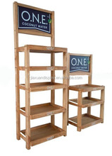 3-layer wooden beer shelf beverage wine display unit/rack/shelf beer display