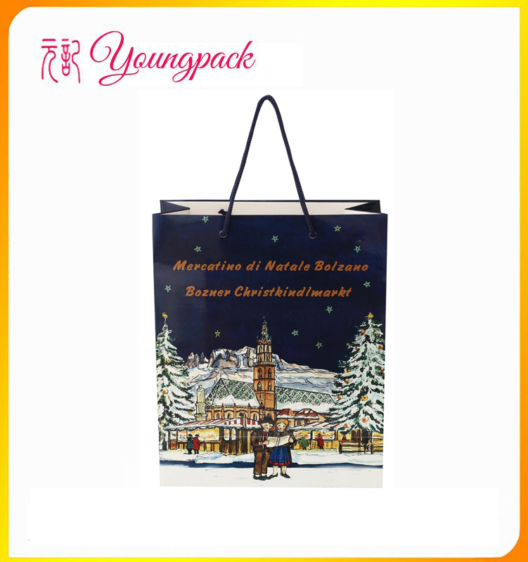 promotional high quality custom luxury paper bag for Chrismas
