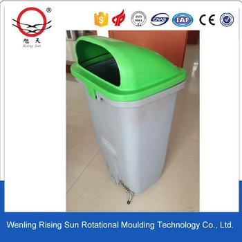 rotational molding making plastic dustbin