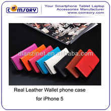 HIGH QUALITY Cow Leather Real Leather Wallet phone Case with stand function For iPhone 5 5G Paypal Acceptable