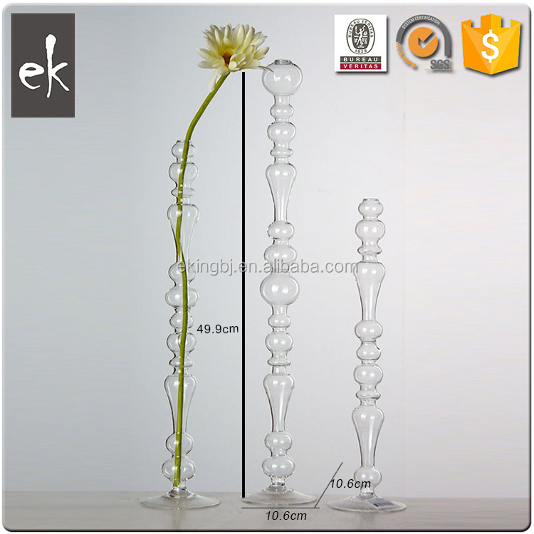 China Wholesale Custom Clear decoration flower Glass Vase with base