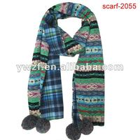 european horizontal stripe microwave knit scarf