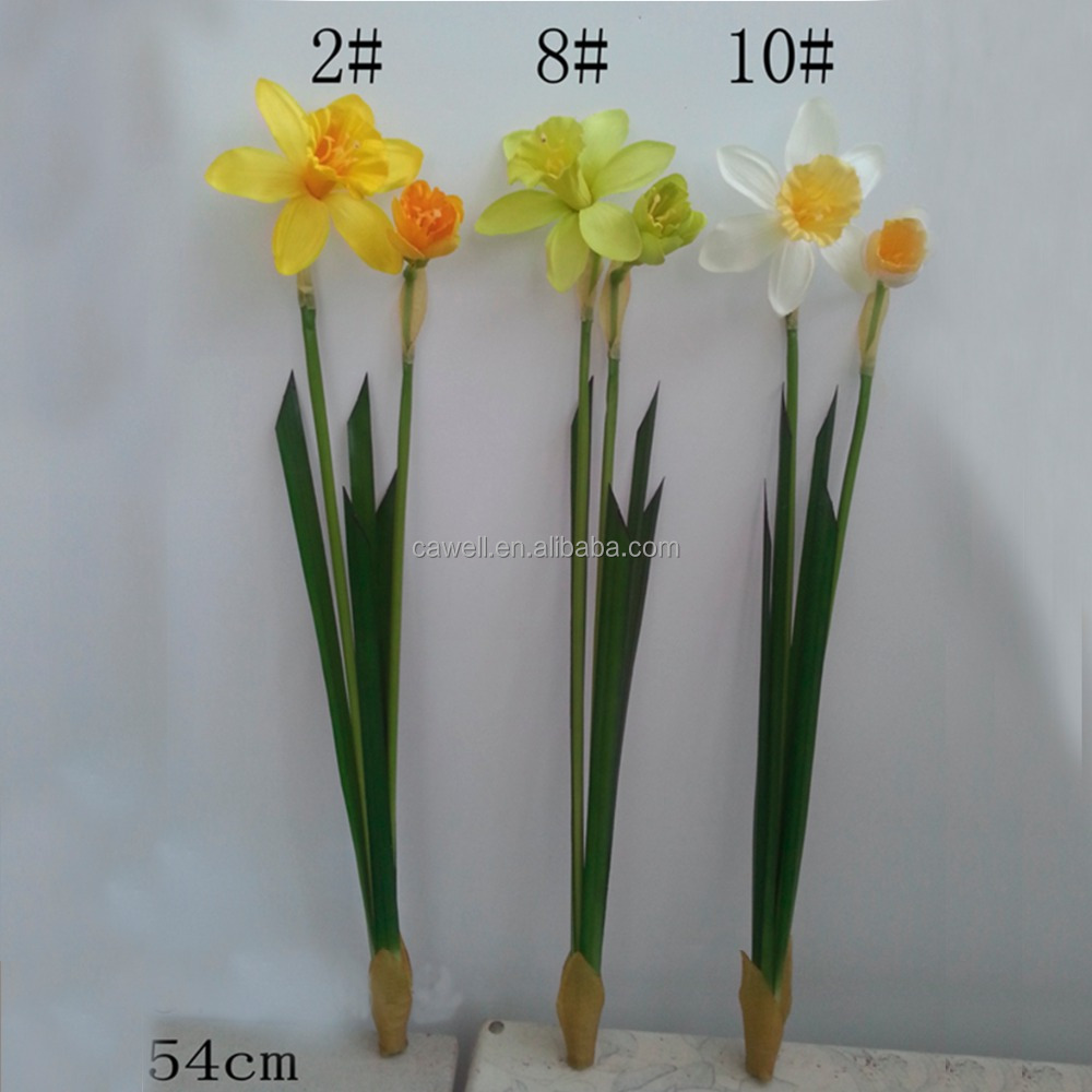 real touch 2 branches silk flower artificial daffodil
