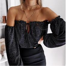 B33905A Autumn Fashion Women Slim off shoulder lace up front open Blouse TOPS