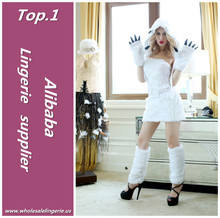 Most popular white Polyester furry adult polar bear costume with hood and claws