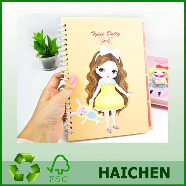 Fancy spiral cute cartoon notebook with index