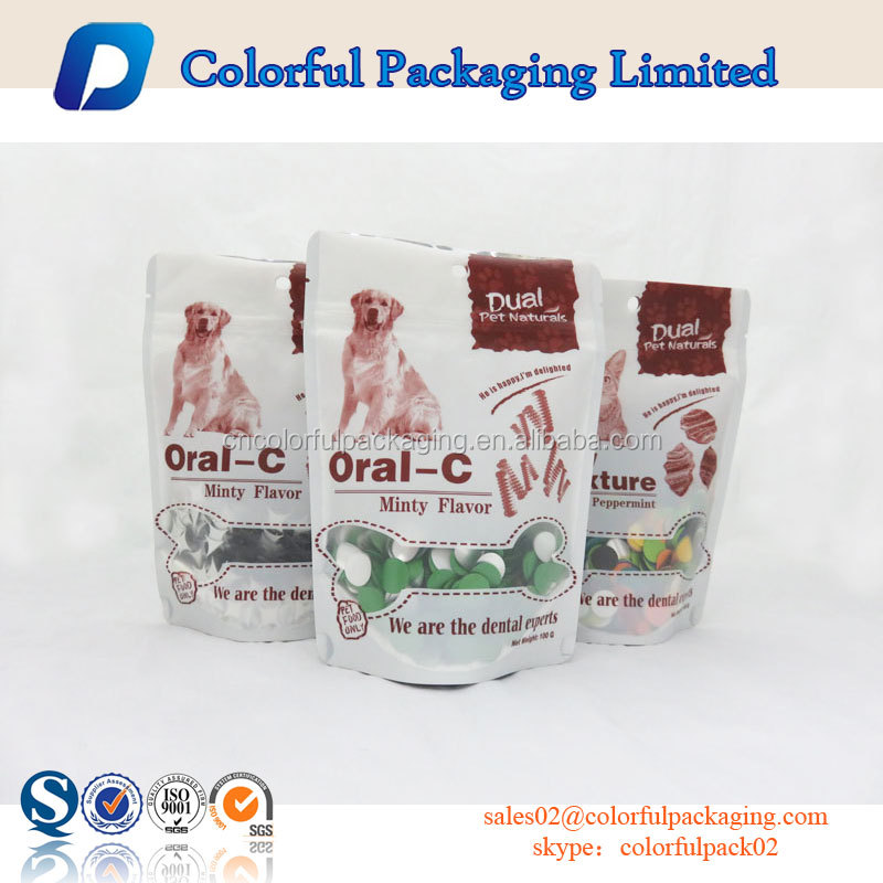 hot sale foil lined pet food packaging resealable doypack dog treat packaging bag