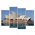 4 Panels Sydney Opera House Pictures for Wall Australia Landscape Canvas Painting Famous Building Paintings for Home Decoration