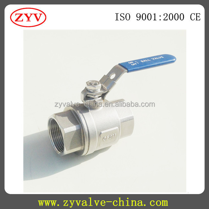 2PC stainless steel full port screw ends rising stem ball valve