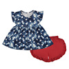 Hot sale National Day theme printing girls outfits baby clothing set kids wholesale tunic flutter tops ruffle shorts