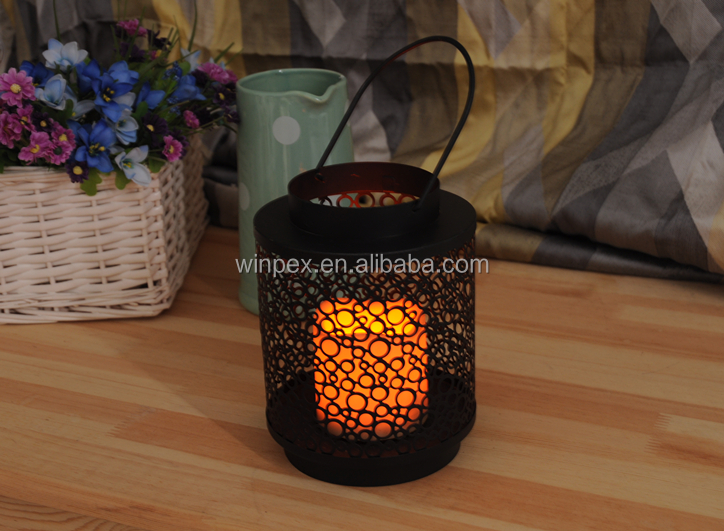 "Varisized Rings-openwork Powder-coated Metal Lantern,Innovative Decorative Cylindric Candle Holder With 3""X4"" Resin LED Candle"
